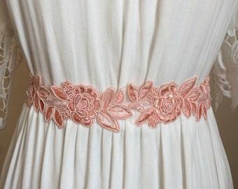 Light Coral Pink Lace Rose Bridal Sash