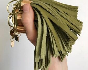 Large Avocado Green Leather Tassel Keychain