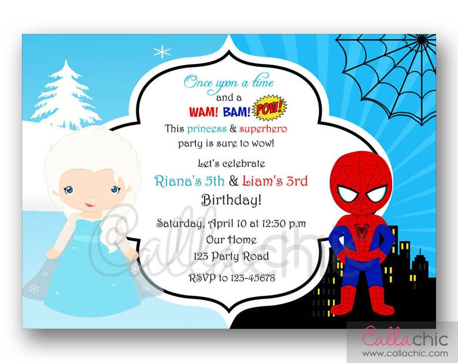 Elsa Spiderman Birthday Invitation PRINTABLE Twin Joint