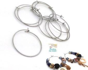 20 hoop earrings stainless steel = 10 pairs rings 25mm (BO38)