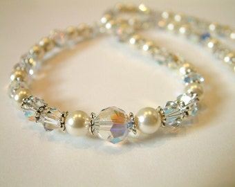 Snowdrift Swarovski crystal and pearl necklace - Bridal