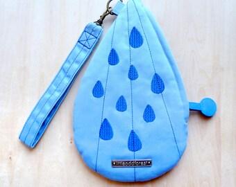 Raindrops Purse, Rain Zip Purse, Zip Wristlet, Wrist Pouch, Tear Drops Wristlet, Water Droplets Wrist Pouch - SkyBlue Royal Blue Color