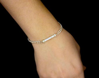TLB Bracelet with double round link chain in sterling silver