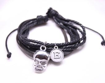 Skull personalized bracelet gift, gift for brother, Gift for boyfriend, Gift to him, gift for rocker, gift to metalist, bracelet for husband