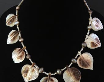 Lovely Leaf Necklace Seed Pearls MOP Leaves