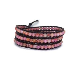 Pink BOHO Wrap Bracelet - Pink Wrap Bracelet - Jasper Beaded Bracelet - Pink Breast Cancer Awareness - Bohemian Jewelry - Valentine's Gift