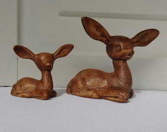 Vintage Deer Figurines - Mid Century Doe and Fawn Knick Knacks - 1964