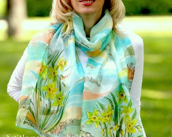 Long silk scarf Hand painted Gift for women Daffodils silk scarf Pale green scarf Green silk scarf Teal silk scarf Wedding silk scarf Batik