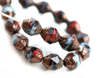 15pc Cathedral Czech Glass beads, Luxury Black Red Blue Golden Ends, barrel beads, fire polished  - 8x6mm - 0277