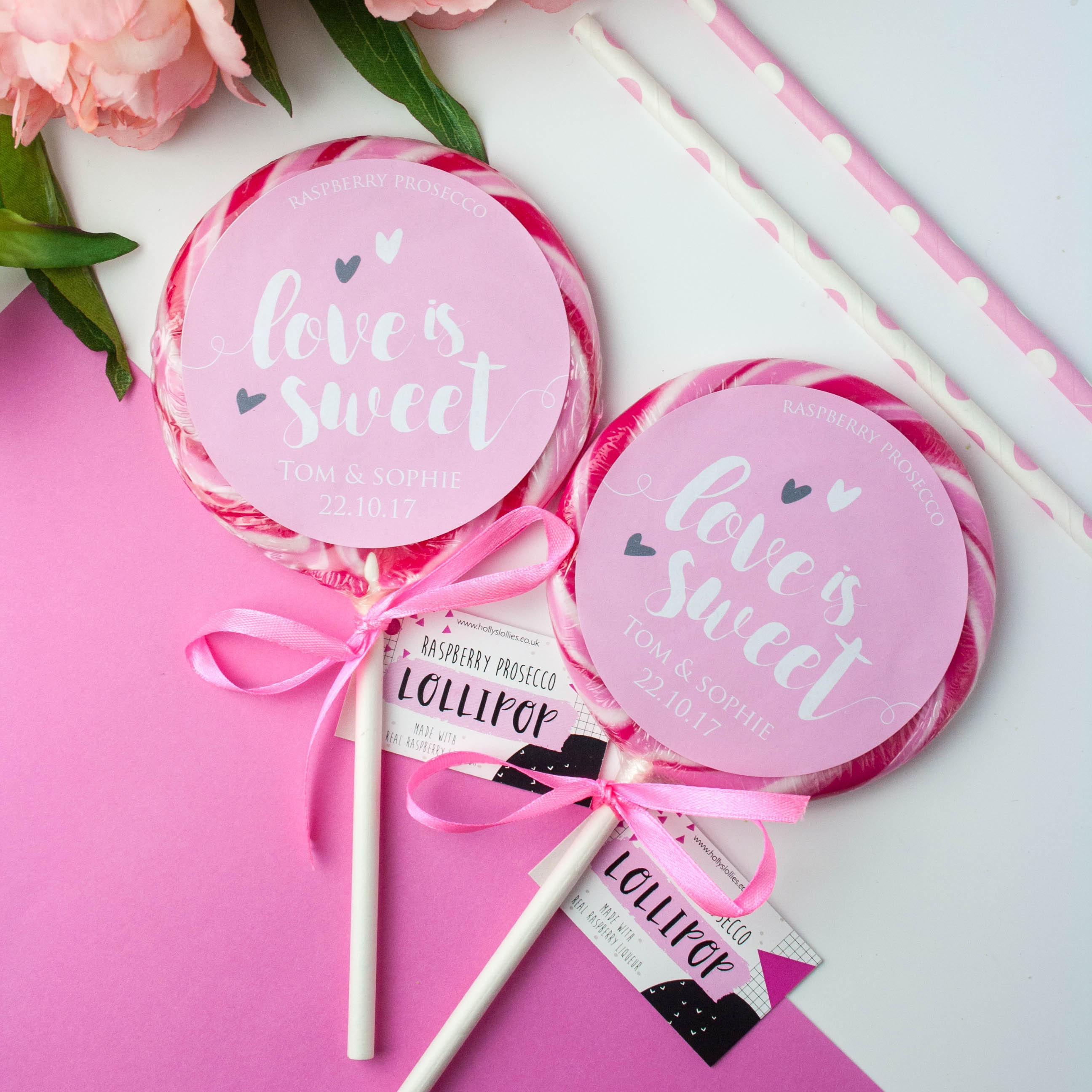 Personalised Alcoholic Wedding Favour Giant Lollipops Love