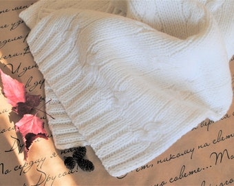White scarf, White knitted scarf, Knitted scarf