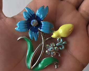 Blue Flower & Yellow Bud Rhinestone Pendant