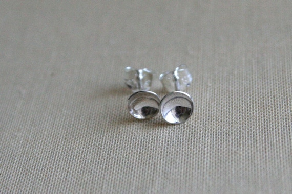 Tiny Craters Polished Sterling Silver Post Earrings