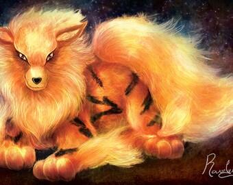 Fire Canine Fan Art Glossy Poster Print - Free USA Shipping