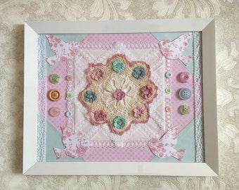 Shabby Chic Flower Nursery Mixed Media Handmade Wall Decor