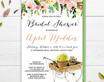 Garden Party Invitation, Baby Shower Garden Tea Party Invite, Baby Shower Floral Garden Party Printable Invitation