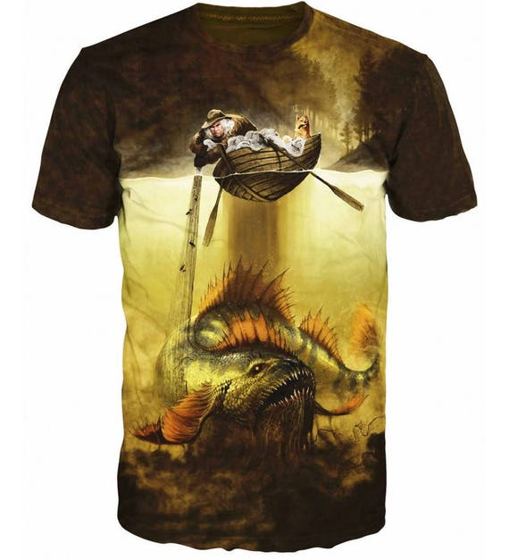 Cool 3D Sublimation Printed Pike Luce Fishing Hobby Mens T-shirt 3l1wxqs29