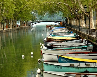Annecy Boats, Color Photograph, Annecy, France