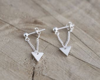 Triangle Chain Ball Studs | Dangle Chain Earrings | Sterling Silver Triangle Thread Earring | Ball Chain Studs | Dangle Triangle Ball Studs