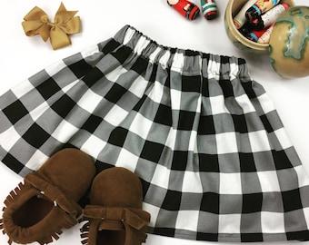Black & White Buffalo Plaid Girls Skirt