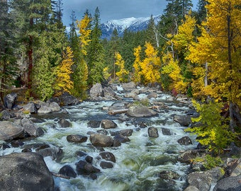 Fall Scene Icicle River, Fall Image, Icicle River Photo, Fall Colors,