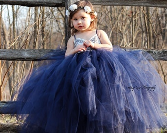 Rustic Tulle and Lace Flower Girl Dress, Girls Champagne Tulle and Lace Dress, Ivory Lace Flower Girl Dress, Navy Tulle Flower Girl Dress