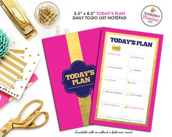 To Do List Notepad - Today's Plan - Premium Daily Planner Notepad - Gold, Pink and Navy - Available in 2 sizes - medium or large!