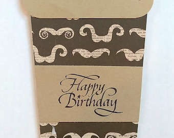 Birthday, Moustache, Card for a Man, Coffee Cup, Masculine, Card for a Friend, Handmade, Man's Card, Card for Brother, Unique