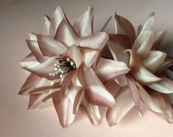 SALE Mocha Dahlia Silk Millinery Flower for Bridal, Hats, Corsages, Wrists, Bouquets MF68