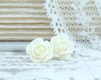 Cream Rose Earrings Rose Stud Earrings Cream Rose Studs Cream Flower Earrings Surgical Steel Under 5 Gift