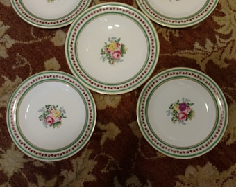 Antique English Earthenware Hand Painted Roses porcelain Tazza - Cake Stand with 4 plates