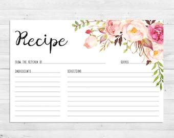Wedding invitations etsy il recipe cards bridal shower boho recipe card watercolor floral printable stopboris Choice Image