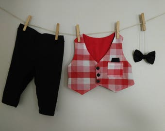 6 month baby boy Christmas outfit, Christmas suit, red baby boy suit, baby boy outfit, Christmas outfit, infant suit, bow tie, vest suit