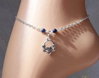 Claddagh Anklet, Ankle Chain, Lapis Lazuli, Ankle Bracelet, Friendship, Love, Silver Chain, Beaded Anklet, Charm, Boho, Beach, Foot Jewelry