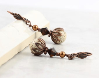 Brown Earrings Mocha Latte Crystal Cream Buri Bead Copper Ear Wires Mothers Day Jewelry