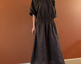 custom relaxed smock linen dress made to fit listing / linen maxi dress / comfy loose fit linen dress / shirred waist dress