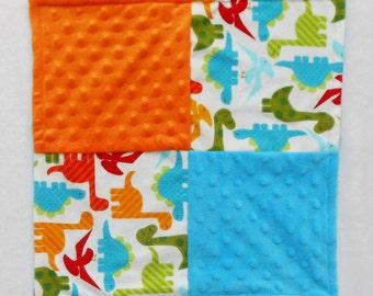 Dinosaur Baby Blanket - Small Blanket - Security Blanket - Lovey - Baby Shower Gift - Baby Boy Blanket - Orange - Blue