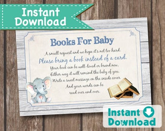 Elephant book request card. Instant Download Bring a book baby shower insert card. Rustic wood baby boy. Printable DIY digital file TX045