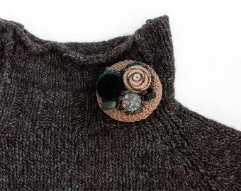 Circle cluster pin brooch, crochet with fabric buttons, brown, OOAK
