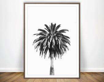 Black and White Palm Tree Print * Palm Tree Wall Art Palm Print Beach Decor Palm Poster Black and White Printable Palm Art Palm Tree Art