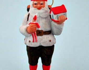 European Santa Christmas Ornament - Bisque Porcelain Santa Ornament - Vintage Christmas Ornament
