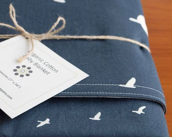 Navy Blue Baby Blanket; Modern Blue and Cream Receiving Blanket; Handmade Organic Cotton Crib Blanket Gift; Birds in Flight Newborn Blanket
