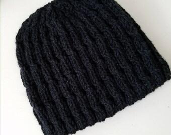 Man's hat, men's hat, man winter hat, charcoal grey handknit hat, handmade hat