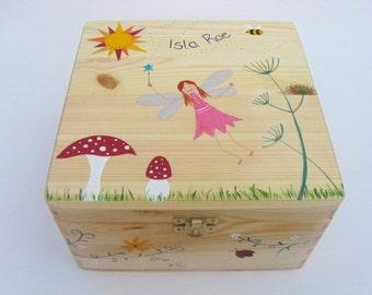 Medium keepsake box, Fairy memory box, Children's personalised trinket box, Hand-painted wooden memory box, Fairy and toadstool design