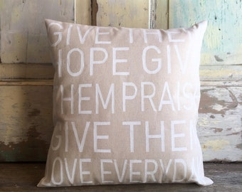 Give them Hope, Give them Praise, Give them Love Everyday pillow | Childhood Cancer Awareness Month | Benefit Pillow - FREE SHIPPING