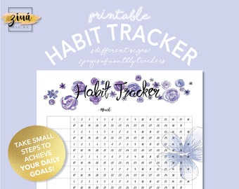 Habit Tracker | Daily Planner | Printable PDF | Instant Download | Monthly Tracker | Goals Tracker | Printable Planner | Filofax Inserts