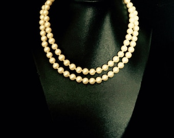 40's 2 Strand Pearl Necklace with Seed Pearl Clasp    VG2443