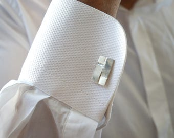 Geometric Silver Cufflinks Mens Cuff links Square Jewelry Wedding Accesories Groom Cufflinks Modern Anniversary gift Mens Gift Personal Gift