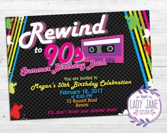 S Invitation Etsy - 90s birthday invitation templates