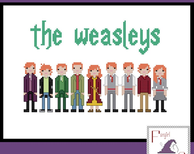Harry Potter inspired Weasley family cross stitch - PDF Pattern - INSTANT Download